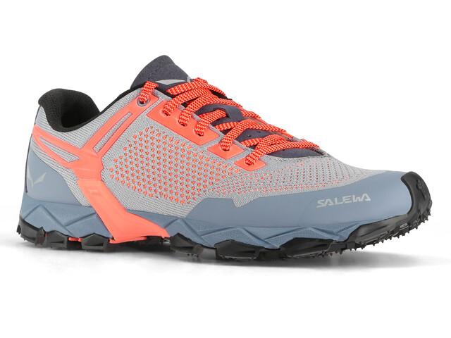 Salewa Lite Train K Shoes Women Blue Fog/Fluo Coral